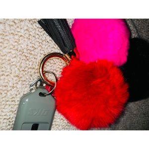 Fuzzy Balls Keychain with tassel. 💖❤️🖤